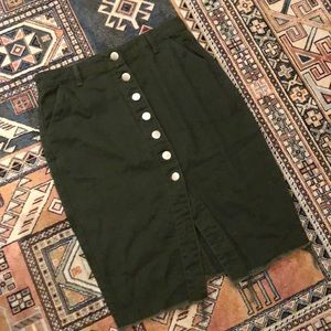 Forever21 Olive Green Midi Button Down Pin Skirt